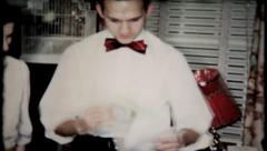 848 - young man gets money in his birthday card - vintage film home movie Stock Footage