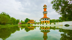 Thailand, ayuthaya, bang pa-in palace. view of the tower Stock Footage