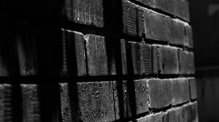Dark shadows on a brick wall Stock Footage