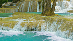 Khouang si waterfall close up, laos Stock Footage