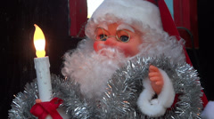 Santa Claus Doll - Electric Candle - Light Decoration Stock Footage