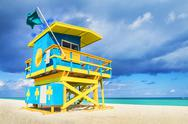 Stock Photo of lifeguard tower, miami beach, florida