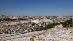 Jerusalem snow  panorama kidron valley 1213 Stock Footage