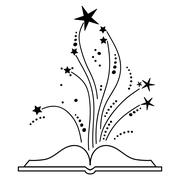 Vector of Open Book with Exploding Stars Stock Illustration