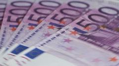 Five Hundred Euro notes Stock Footage