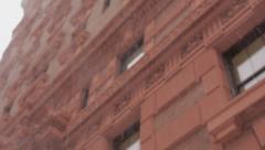 New York City buildings in snow defocus - stock footage