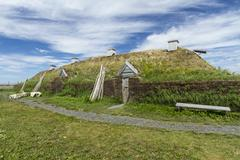 L'anse aux Meadows Viking Long Hall - stock photo