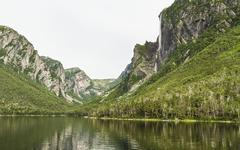 Cliffs on  Western Brook Pond Stock Photos