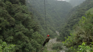 Stock Video Footage of Man ridding zipline HD