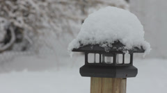 Snow covered light Stock Footage