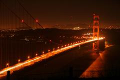 Golden gate bridge at night Stock Photos