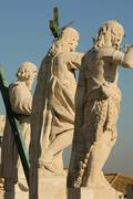Detail of the statues surrounding the st. peter's square Stock Photos