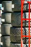 Stack of racing car tires Stock Photos