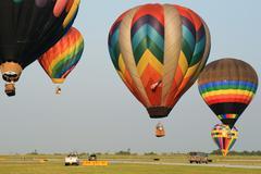 Hot air balloons landing Stock Photos