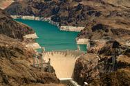 Stock Photo of aerial view hoover dam