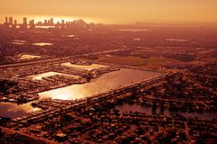Aerial view of miami in golden afternoon. Stock Photos