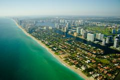 aerial view of seashore in miami - stock photo