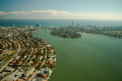 Aerial view of miami city Stock Photos