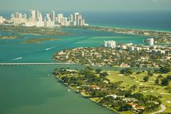 aerial view of miami - stock photo
