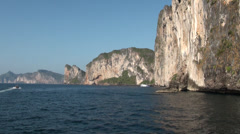 Phi Phi islands lime-stone rock formation Stock Footage