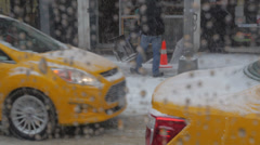 New York City traffic in snow Stock Footage