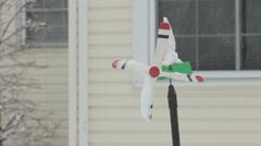 Snowy Yard Ornament Stock Footage