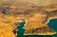 Stock Photo of aerial view of hoover dam