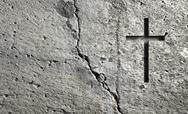 Stock Illustration of old wall with cross