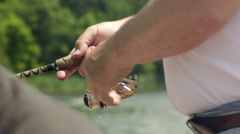 Father and son fishing Stock Footage