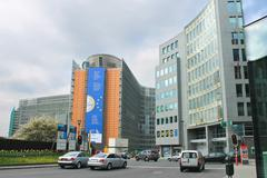 Movement of vehicles near buildings european parliament  in brussels, belgium Stock Photos