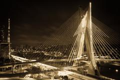 sao paulo city bridge at night - stock photo