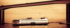 barca rio-niteroi ferry boat on baia de guanabara - stock photo