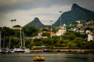 Stock Photo of cristo redentor as seen from a boat in the baia de guanabara