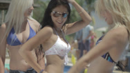 Stock Video Footage of Sexy girls wearing bikini and dancing at a pool party in the summer