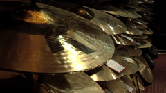 Cymbals at a music store Stock Footage