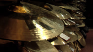 Stock Video Footage of Cymbals at a music store