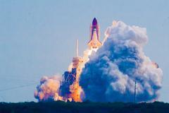 space shuttle launching - stock photo