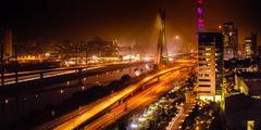 Bridge at night in sao paulo Stock Photos