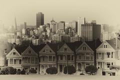 victorian style houses, alamo square, san francisco, california, usa - stock photo