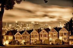 San francisco victorian homes at alamo square Stock Photos