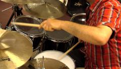 Professional drummer plays on set - stock footage