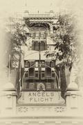 angels flight lower station - stock photo