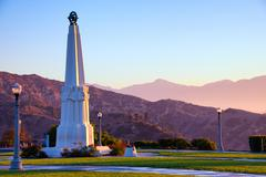 astronomers monument in griffith park - stock photo