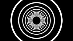 geometric tunnel of hoops circles black background - stock footage