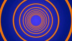 geometric tunnel of hoops circles blue background - stock footage