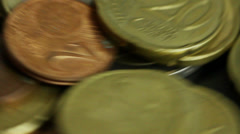 Euro coins spinning, close up macro shot Stock Footage