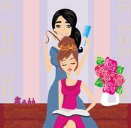 relax at the hairdresser - stock illustration