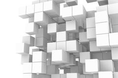 Stock Illustration of white cube structure