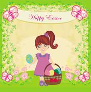 Easter card with girl and a basket of eggs Stock Illustration