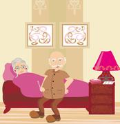 elderly sick woman lying in bed - stock illustration